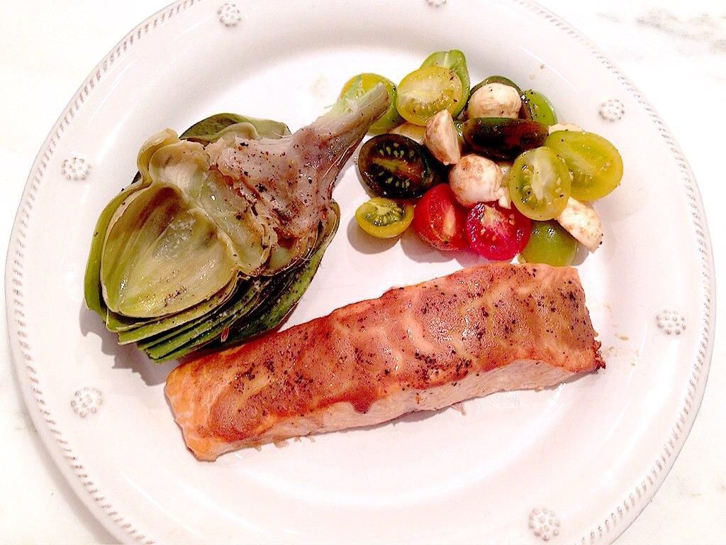Cedar Plank Salmon and Grilled Artichokes