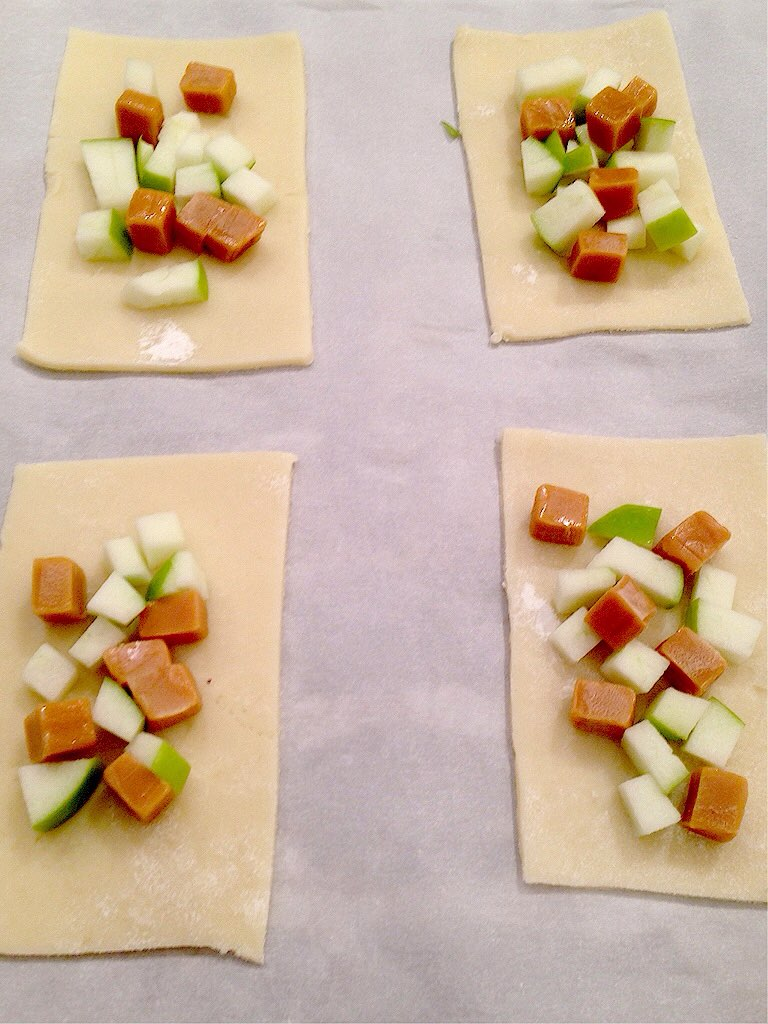 chopped caramel and apples