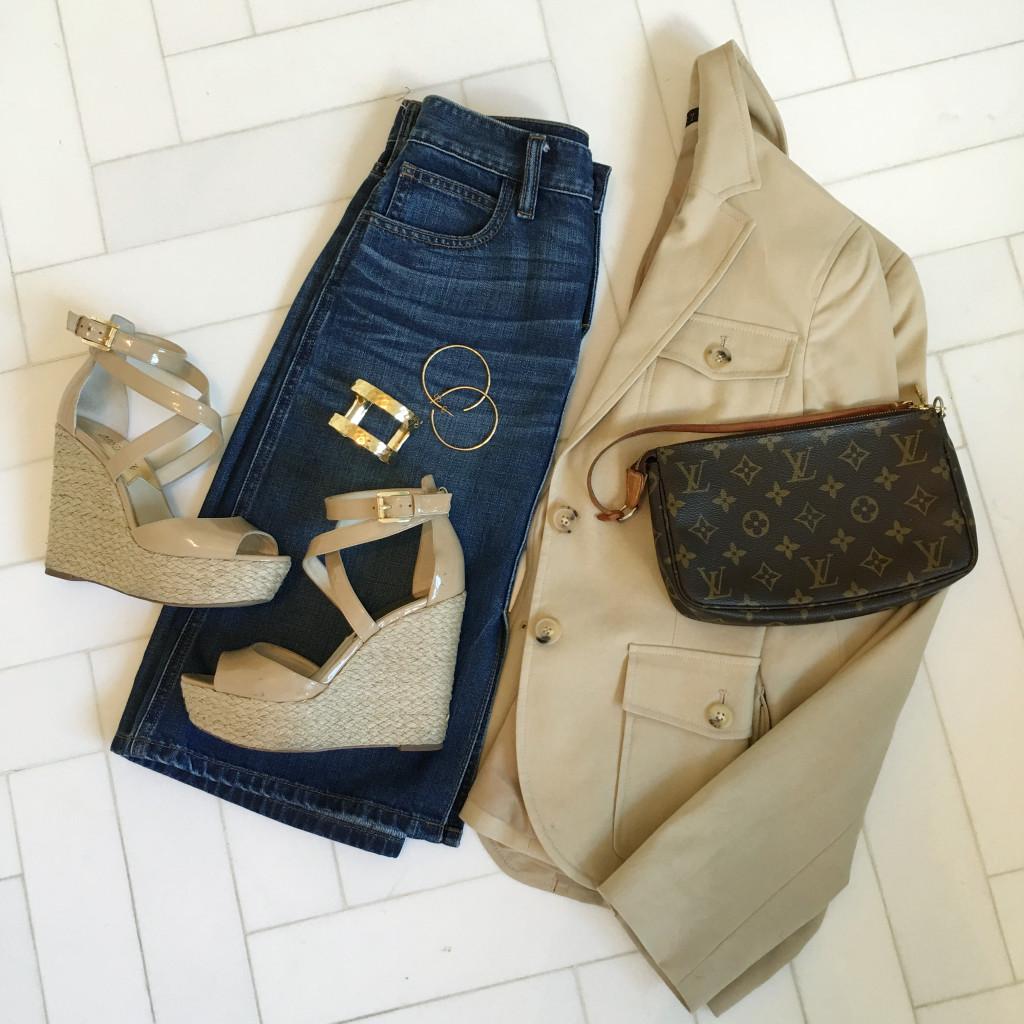 Blazer and denim skirt