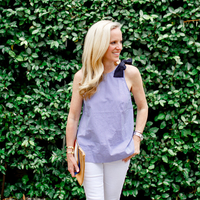 Alicia Wood, Dallas Fashion Blogger, Bow Top, J.Crew Bow Top, J.Crew Summer Favorites on Sale, Blue and white stripe Top, Blue and White tank, Dallas Fashion Blogger