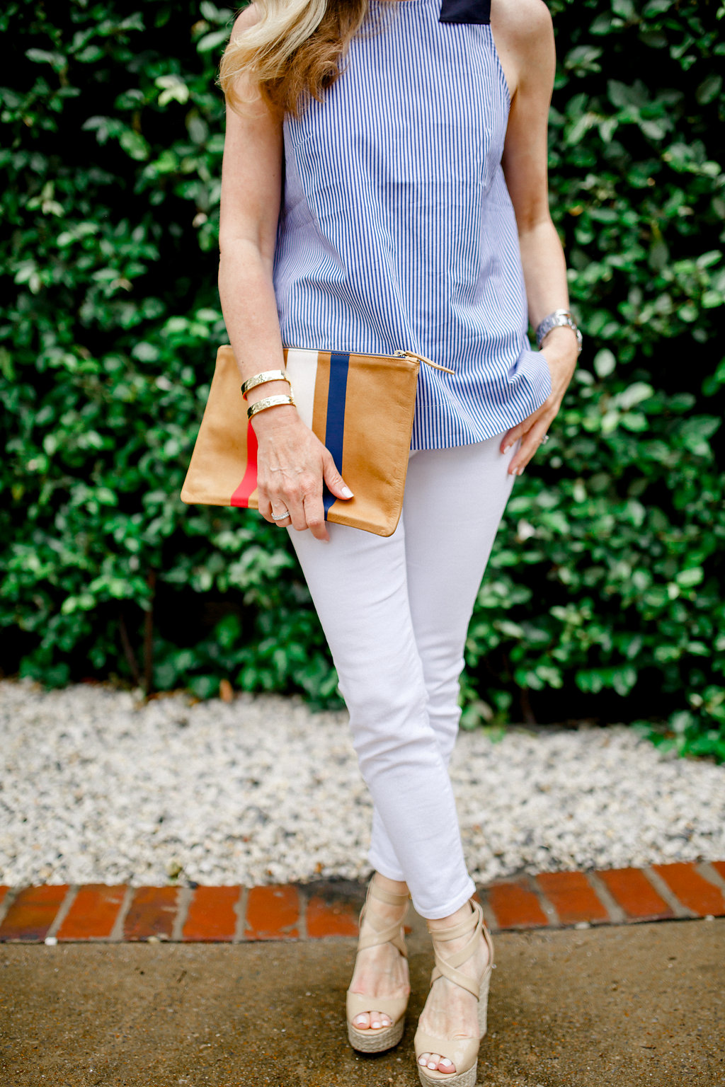 Best Cropped White Jean, Petite Skinny Jean, Petite Cropped Jeans, Petite White Jeans, Clare V. Clutch, Blue and White Stipes