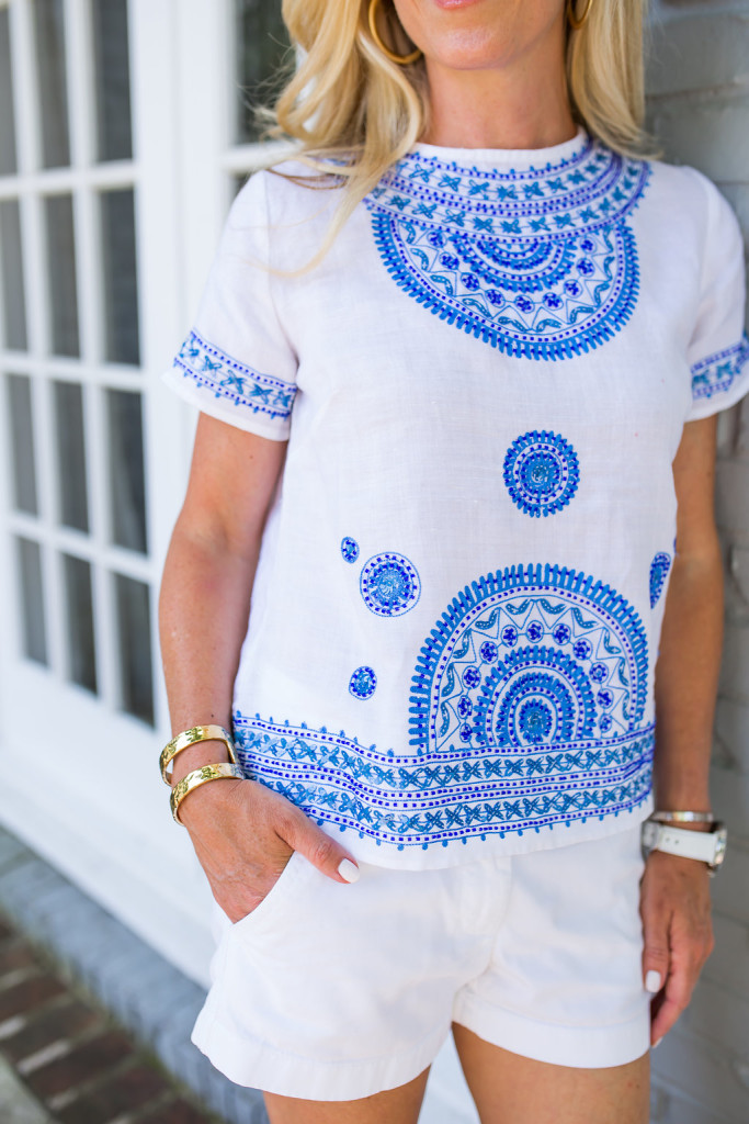 Blue and White Beaded Top, Tommy Bahama Top, Tommy Bahama Women's Giltter Moon Linen Top, Beaded linen Top