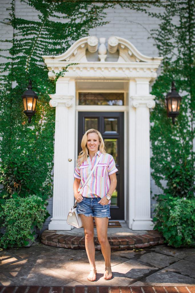Alicia Wood, Dallas Fashion Blogger, Dallas Lifestyle Blogger, J.Crew Candy Striped Shirt, J.Crew Striped Shirt, AG Jean Shorts, Longchamp Handbag