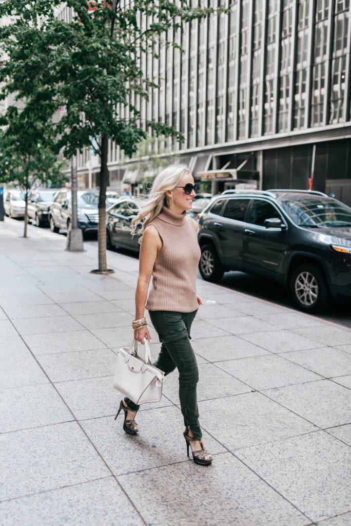 NYFW recap, J Brand Cargo Pant, Michael Kors Shaker-Stitch Cotton-Blend Turtleneck, New York Street Style,