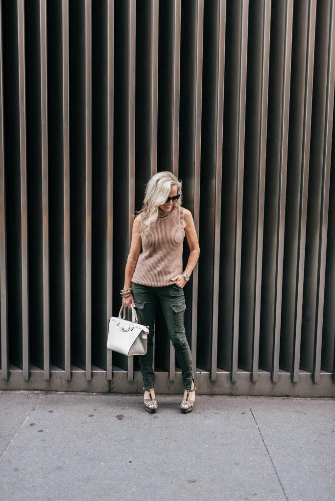NYFW, Alicia Wood, Dallas Fashion Blogger, Dallas Lifestyle Blogger, J Brand HOULIHAN MID RISE CARGO Pant, Longchamp Heritage Tote,