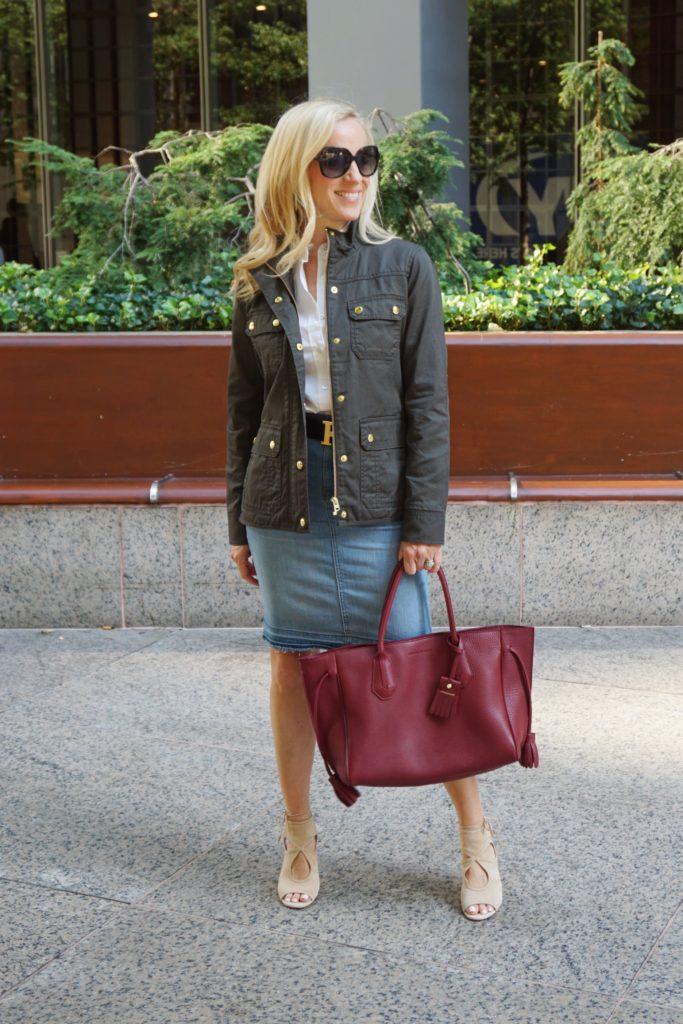 J. Crew Downtown Field Jacket, Released Hem Denim Skirt, Longchamp Penelope Tote, Fall Staples