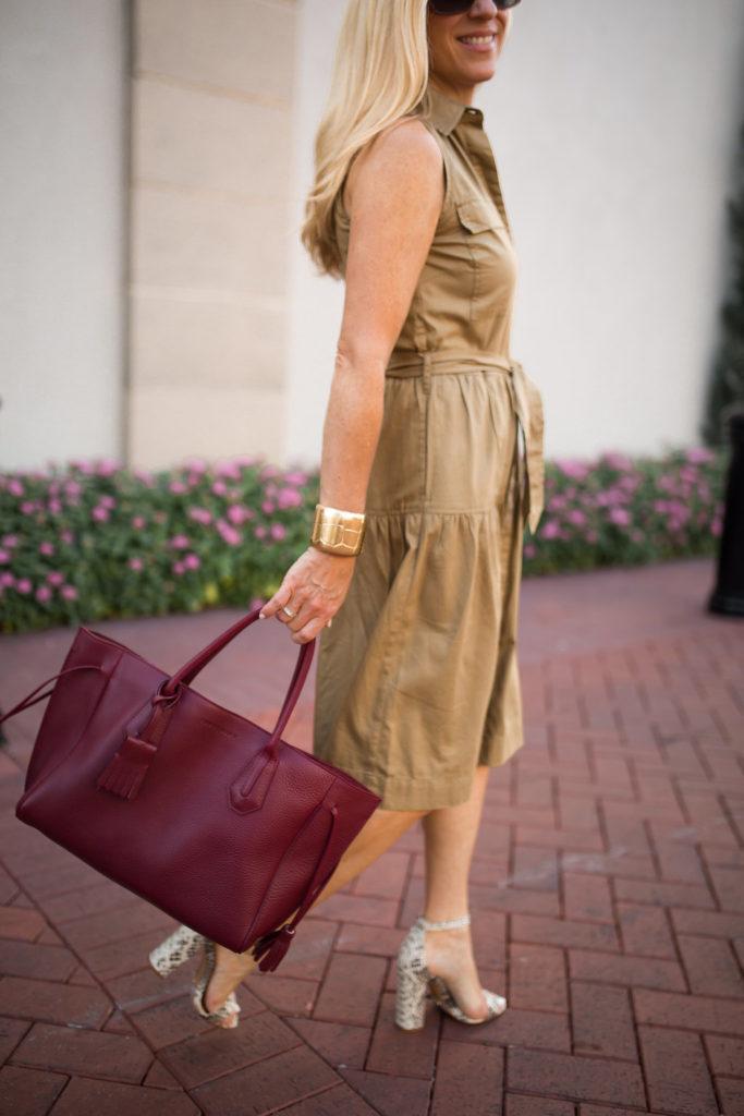 Longchamp Penelope Tote, Dallas Lifestyle Blog, Khaki Shirtdress,