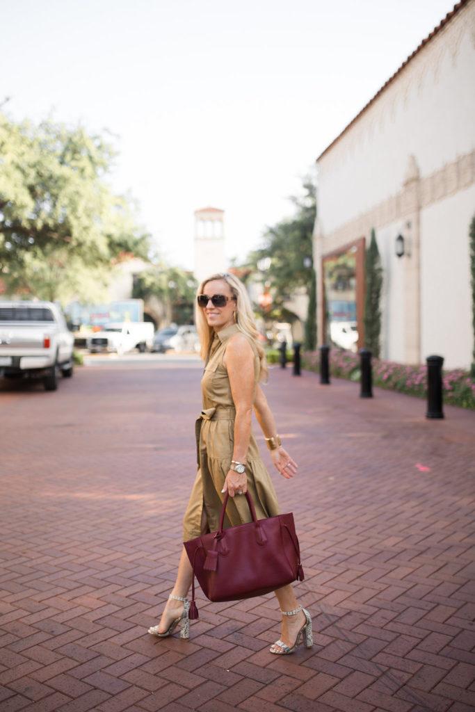 Alicia Wood, Dallas Fashion Blogger, Dallas Lifestyle Blogger, Longchamp Penelope Tote, J Crew Tiered Fatigue Shirtdress