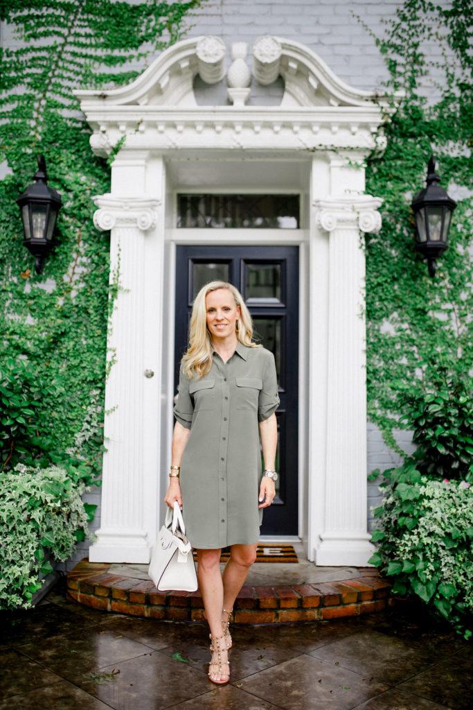 Alicia Wood, Dallas Fashion Blogger, Dallas Lifestyle Blogger, Army Green, Fall Transition, Fall Fashion, Equipment Signature Slim Shirtdress
