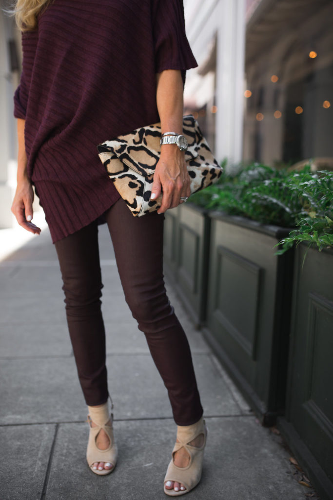 Verdugo Luxe-Coated Ultra-Skinny Ankle Jeans, Best Fall Color, Dallas Style blog, animal print clutch, leopard clutch, J. Crew Clutch, Rib-Knit Kimono Sweater