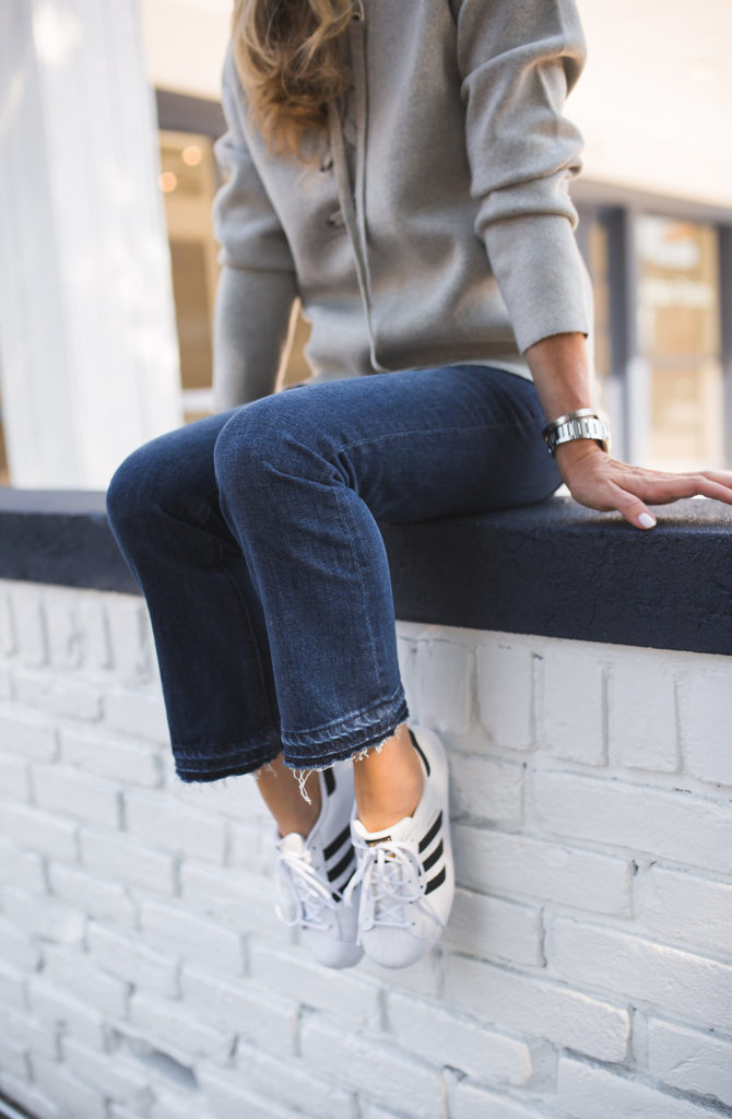 Frame Le High Straight-Leg Cropped Jeans, J.Crew BILLIE DEMI-BOOT CROP JEAN, Cropped Released Hem Jeans, Lace up Gray Sweater, Adidas Superstar,