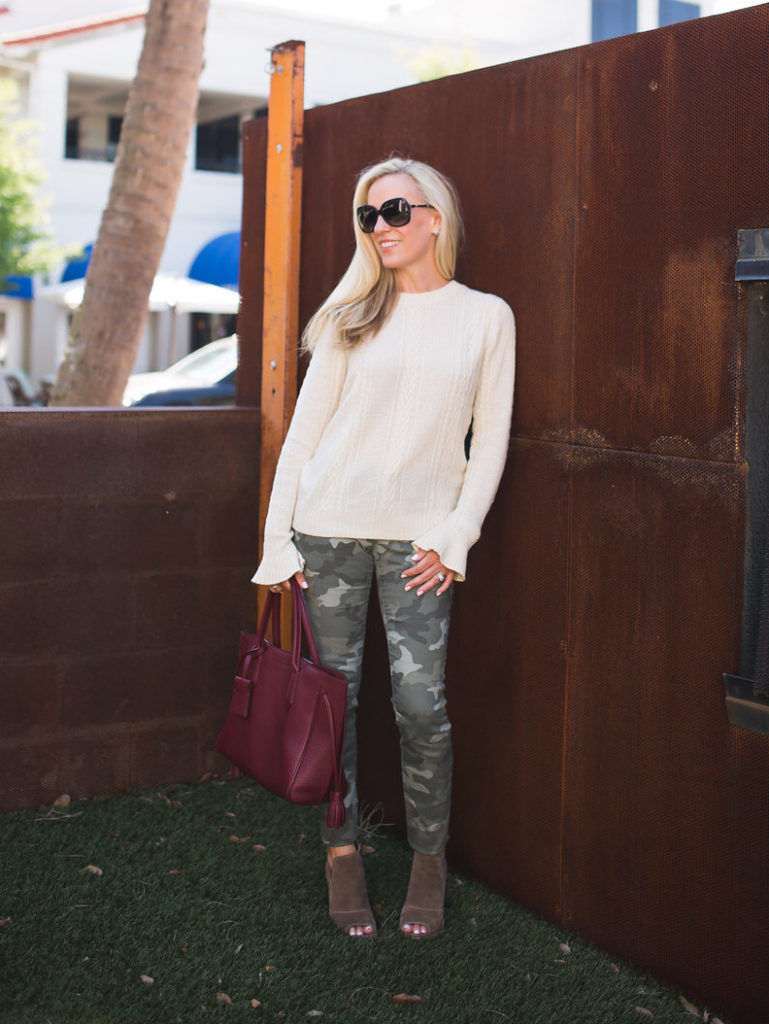 Alicia Wood, Dallas Lifestyle Blogger, Dallas Fashion Blogger, What to wear for Thanksgiving, Camo jeans, Ruffle Sleeve sweater