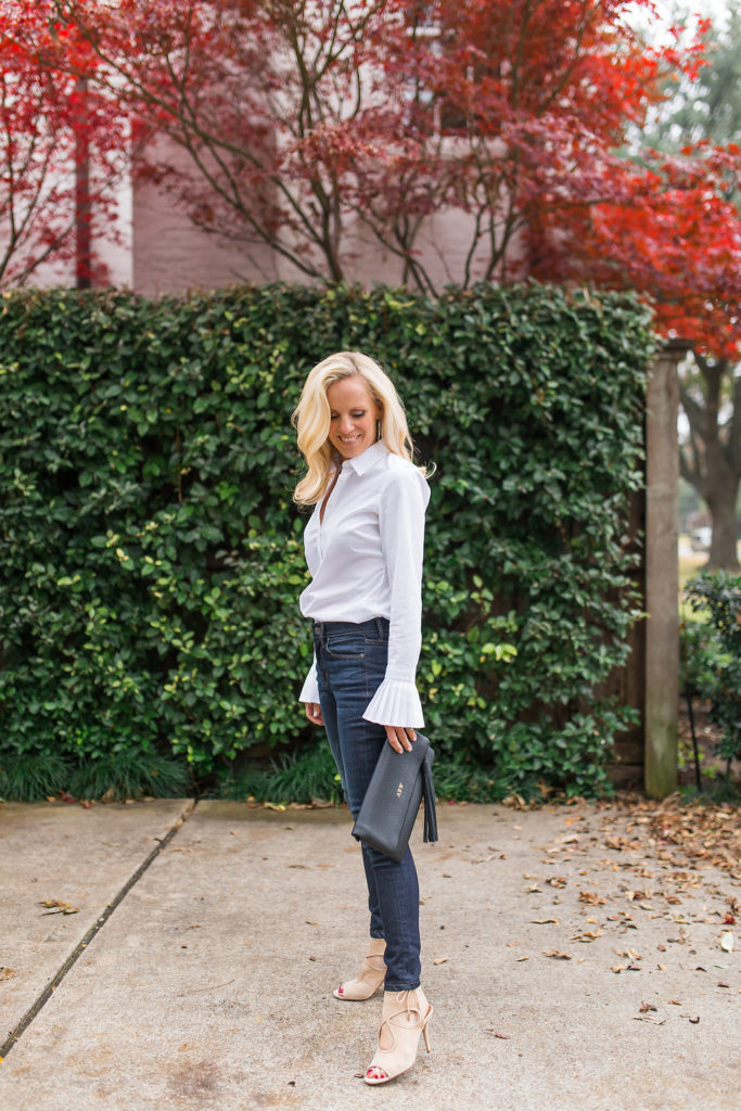 Alicia Wood, Dallas Fashion Blogger, Dallas Lifestyle Blogger, Best Fitting Jeans, Banana Republic White ruffle Sleeve top, Riley-Fit White Pleated Cuff Shirt