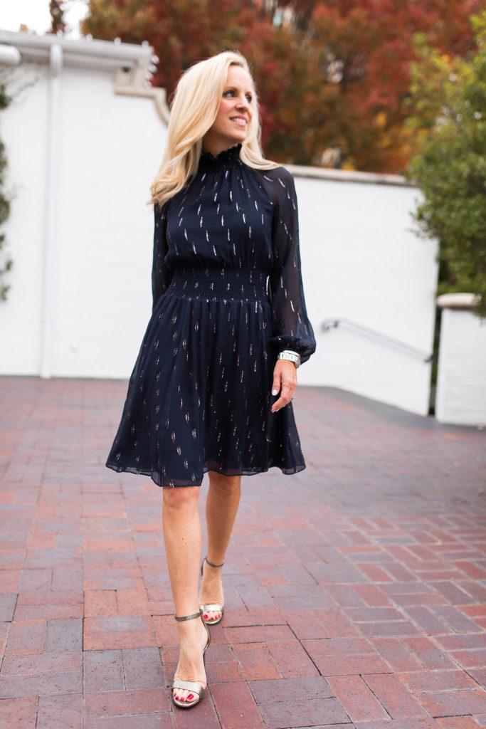 Alicia Wood, Dallas Fashion Blogger, Dallas Lifestyle Blogger, Rebecca Taylor Navy Dress, Rebecca Taylor Metallic Chiffon Smocked Waist Dress