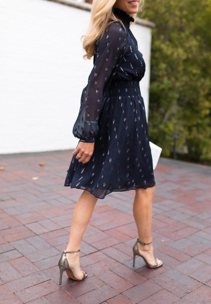Metallic Chiffon Smocked Waist Dress, Rebecca Taylor Dress, Neiman Marcus New Year's Eve Dresses
