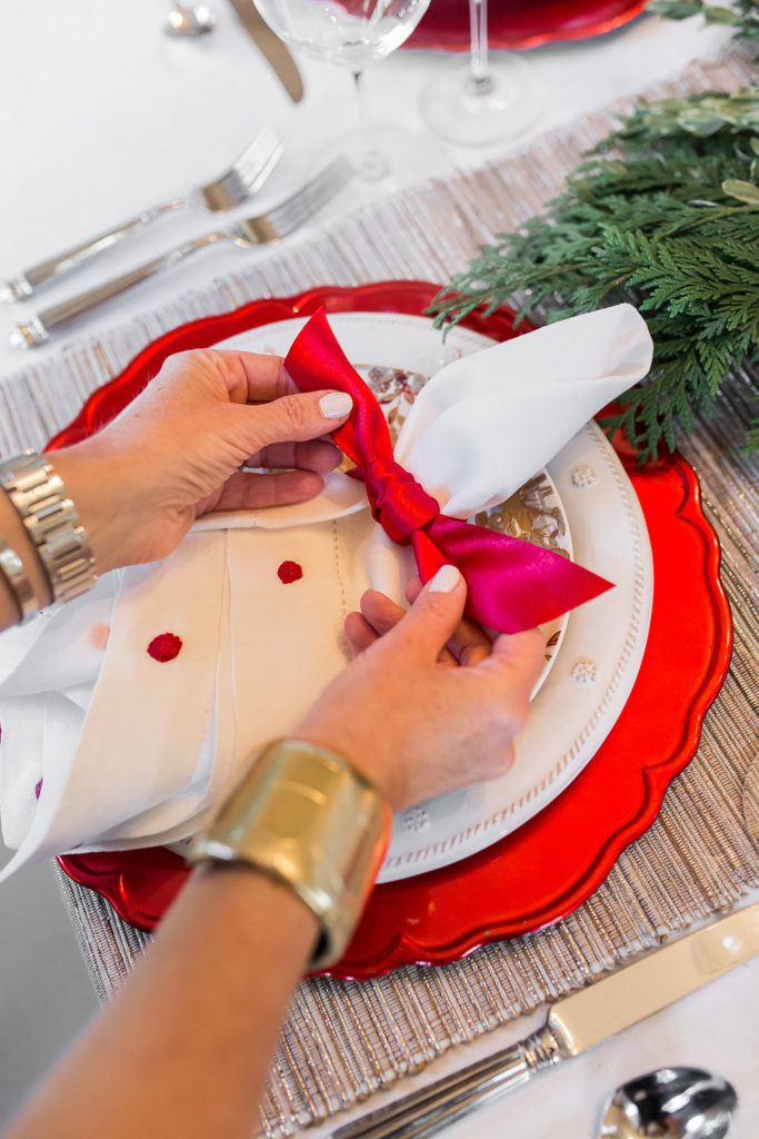 Red napkin rings, Juliska Berry and Thread Napkins, Red Satin Ribbon, Christmas Table Styling