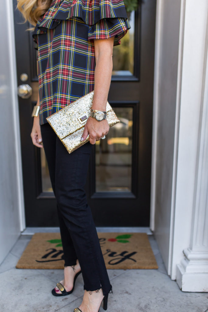 Glitter Clutch, Edie top in Stewart Plaid, Styling Jeans for Christmas, Styling Jeans for Holiday Parties