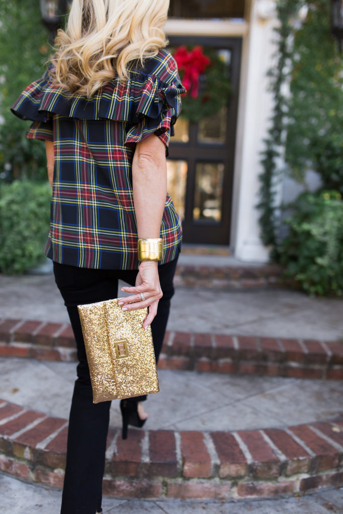 Styling Jeans for a Christmas Party, Plaid Ruffle Top, Frame Noir Jeans, Glitter Clutch