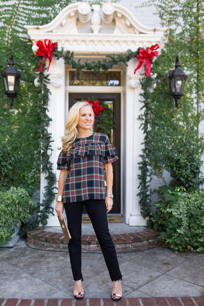 Edie top in Stewart Plaid, Styling Jeans for Christmas, Styling Jeans for Holiday Parties