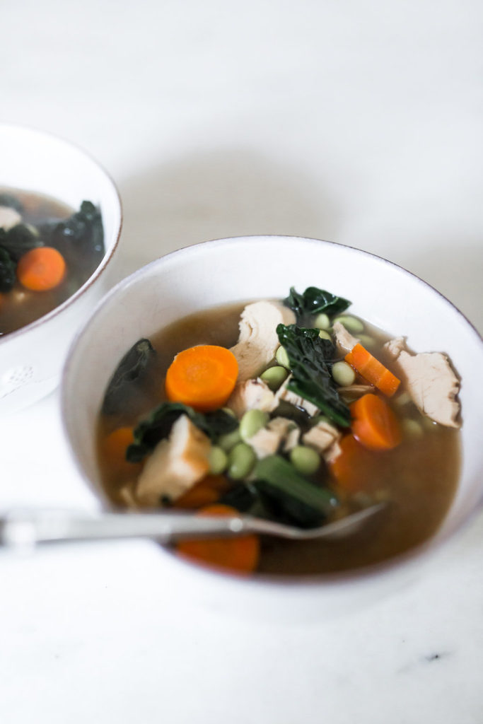 Healthy Chicken Soup, Miso Ginger Soup, Beginner recipe