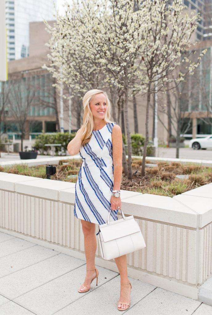Milly Kendra Stripe Dress, Alicia Wood, Dallas Lifestyle Blogger, Dallas Fashion Blogger, Neiman Marcus Sale, Tory Burch T Block Top Handle Satchel