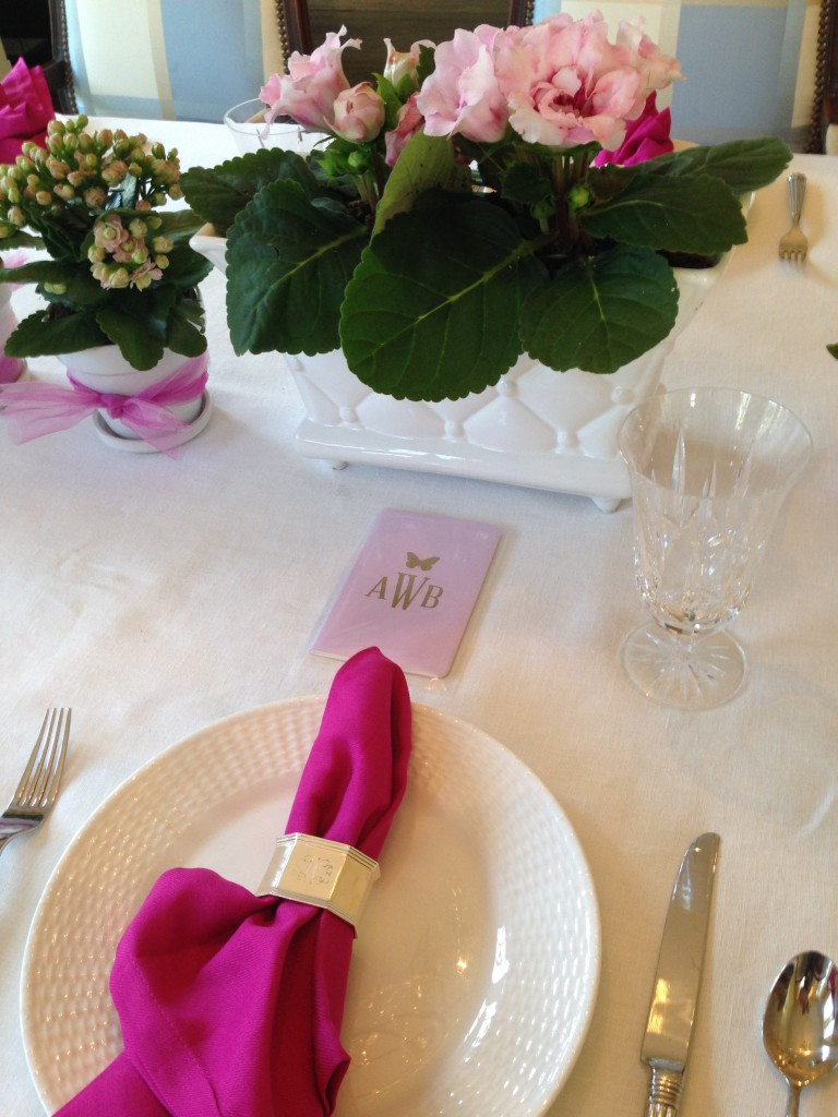 pink napkin on white plate