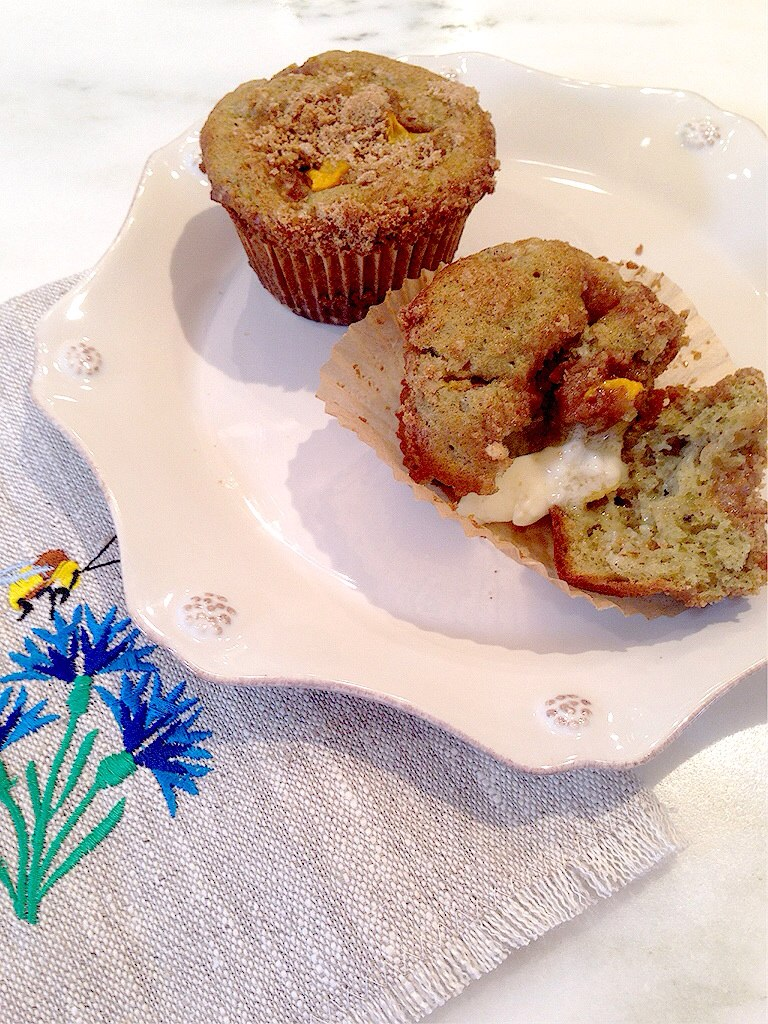 Peach Muffins with Cinnamon Streusel