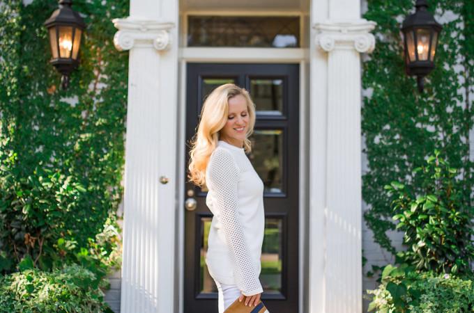 Alicia Wood, Dallas Fashion blogger, Dallas Lifestyle Blogger, Topshop Pointelle Panel Sweater, White Sweater, Summer Sweater, #Nsale, White Jeans