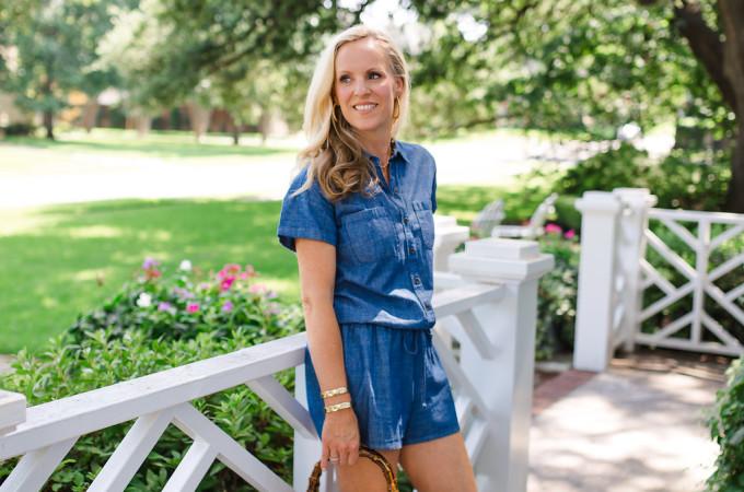 Dallas Fashion Blogger, Alicia Wood, Denim romper, denim jumper, One piece dressing, one piece outfit, chambray romper, Dallas Lifestyle Blogger, Dallas Food Blogger, Short sleeve utility romper