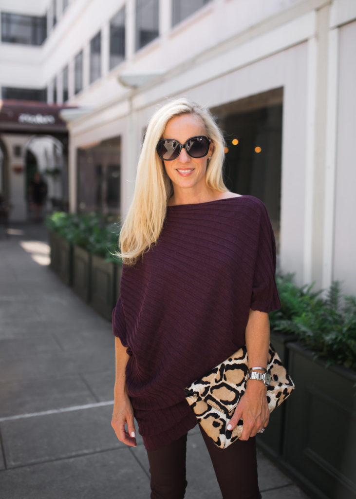 Fall Sweater, Poncho, Leopard clutch, J. Crew Clutch,