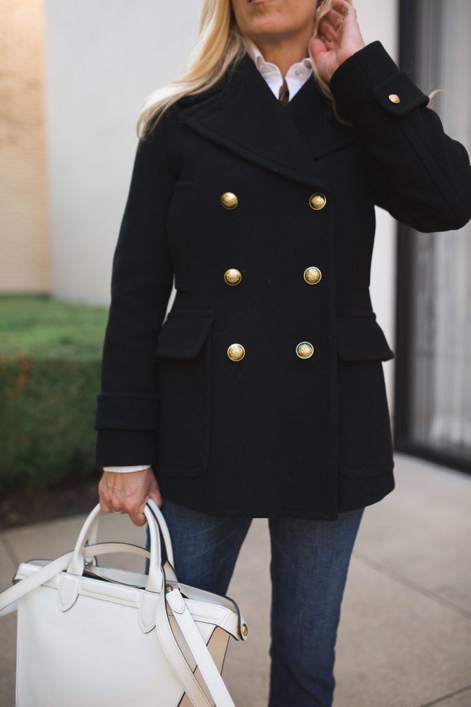 Black Peacoat with gold buttons, Majesty peacoat, Classic Peacoat, Iconic Coats to own, 5 Classic Coats