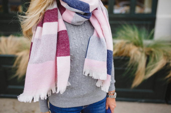 Breast Cancer Awareness Month, BLOCKED-STRIPE BLANKET WRAP, TalbotsxNBCF, Blanket Scarf, Pink Blanket Scarf, Shop for a Cause, Think Pink