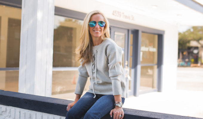 Weekend Wear | Lace-Up Sweater and Cropped Jeans + J.Crew Sale