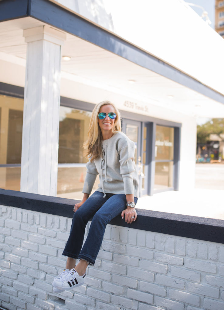 Alicia Wood, Dallas Fashion Blogger, Lace-up Sweater, J.Crew Bonded Lace-up Sweater, Dallas Lifestyle Blogger, Dallas Fashion Blog