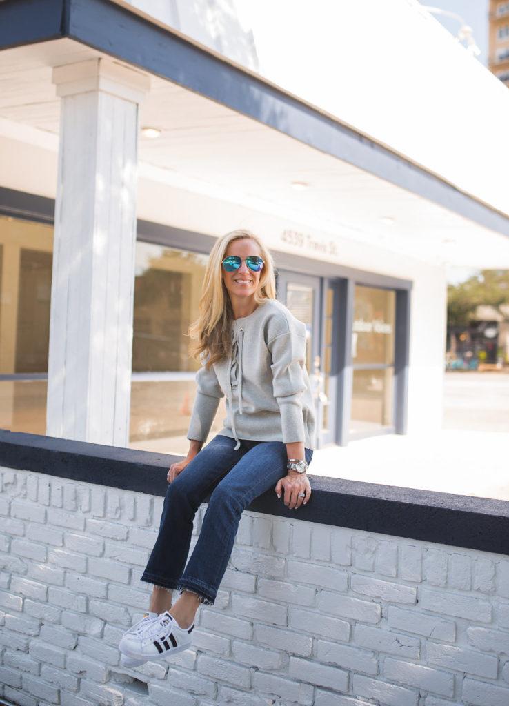 Alicia Wood, Dallas Fashion Blogger, Lace-up Sweater, J.Crew Bonded Lace-up Sweater, Dallas Lifestyle Blogger, Dallas Fashion Blog