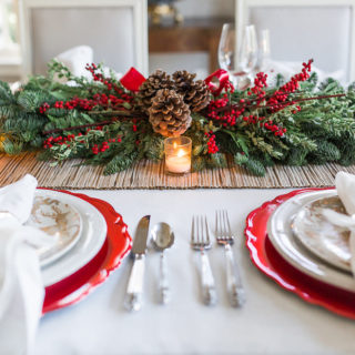 Elegant Christmas Tablescape, Easy Christmas Tablescape, How to decorate your table for Christmas, Nicholson Hardie greenery,