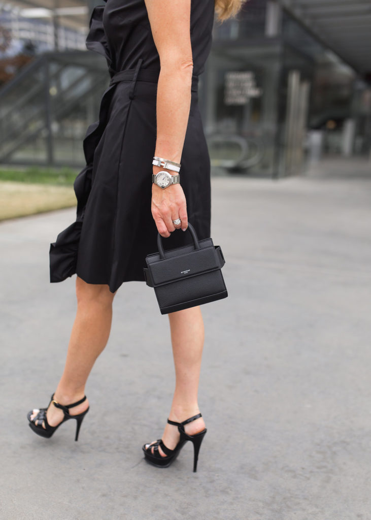 Givenchy Horizon Nano Satchel, Milly ruffle-front wrap dress, YSL Tribute Sandals