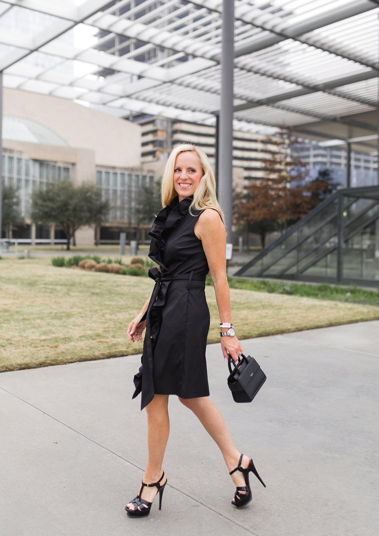 Milly Ruffle Front Wrap Dress, Givenchy Horizon Mini Satchel, YSL Black Tribute Sandal
