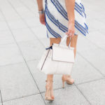 Tory Burch White Handbag, Blue and White Strip Easter Dress