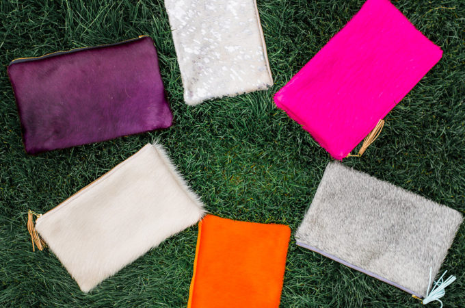 Parker and Hyde Cowhide Clutches, Dallas Designers
