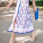 Banana Republic Paisley Pleated Dress, Stuart Weitzman Nudistsong Sandal, Blue Scalloped Clutch, Flower Summer Dress