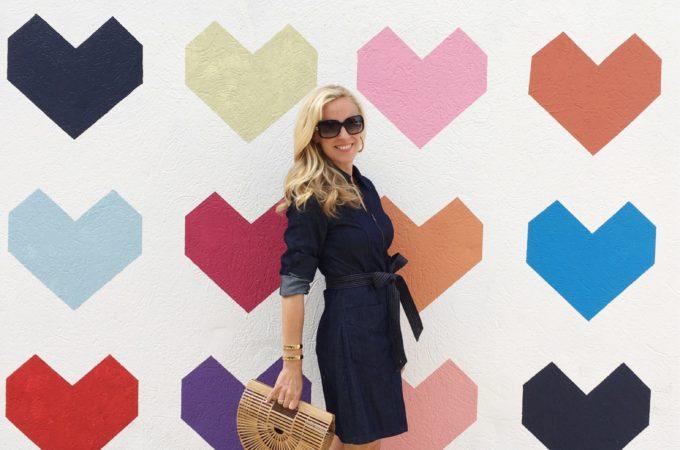 Alicia Wood, Dallas Fashion blogger, Dallas Lifestyle Blogger, 7 For all Mankind Denim Dress, Cult Gaia Ark Bag, Valentino Sandals