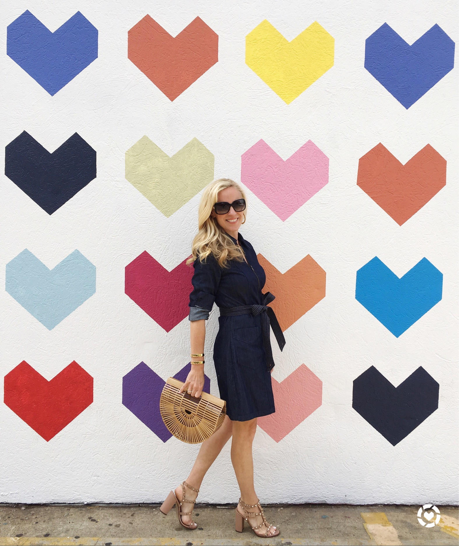 Alicia Wood, Dallas Fashion blogger, Dallas Lifestyle Blogger, 7 For all Mankind Denim Dress, Cult Gaia Ark Bag, Valentino Sandals
