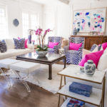 Light and Bright Family Room, White Living room with Pops of Color, Blue and White Living room with pops of Pink, Jen Thatcher Art, Contemporary Art