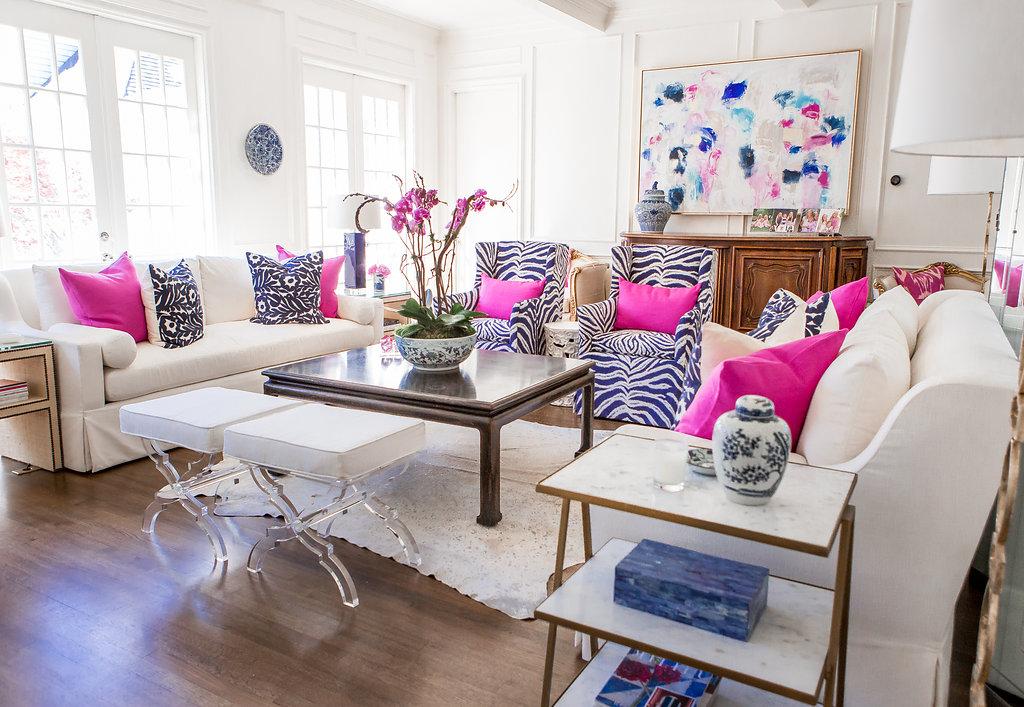 Light and Bright Family Room, White Living room with Pops of Color, Blue and White Living room with pops of Pink, Jen Thatcher Art, Contemporary Art