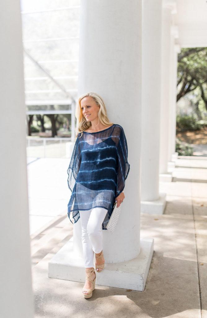 Alicia Wood, Dallas Lifestyle Blogger, W by Worth Blue Stripe Poncho
