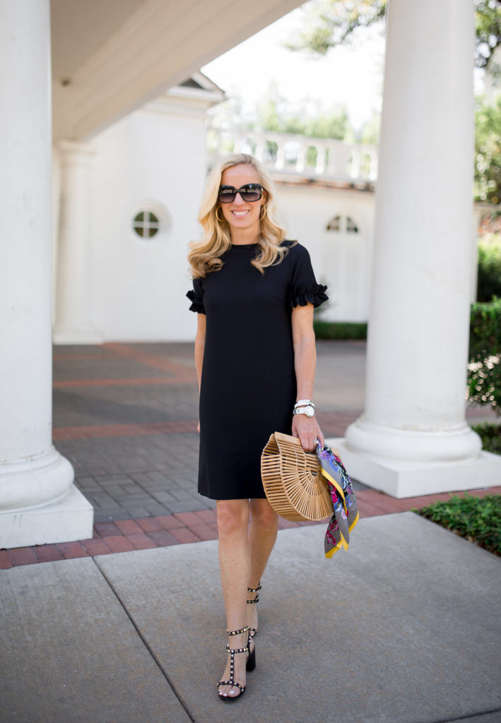 Alicia Wood, Dallas Lifestyle Blogger, Dallas Lifestyle Expert, LBD for Spring, Cult Gaia Ark Bag, Black Valentino Rockstud City Sandal