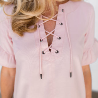 Alicia Wood, Dallas Lifestyle Blogger, Dallas Lifestyle Expert, Dallas Fashion Blogger, Blush Pink Lace Up Dress, Big Blonde Hair