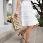 White Summer Dresses, White Dress with lace and Fringe, White Fringe Skirt, Valentino City Sandals, Raffia Clutch, Straw clutch
