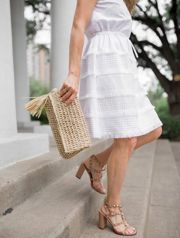 White Summer Dresses, White Dress with lace and Fringe, White Fringe Skirt, Valentino City Sandals, Raffia Clutch, Straw clutch